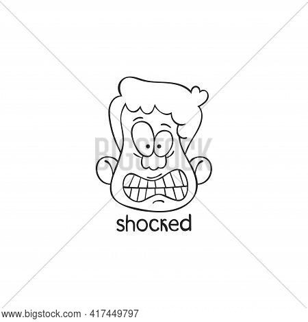 Shocked. Emotion. Human Face. Cartoon Character. Isolated Vector Object On White Background.