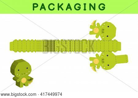 Party Favor Box Die Cut Crocodile Design For Sweets, Candies, Small Presents, Bakery. Package Templa