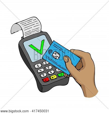 Pos-terminal With Plastic Card Approved Operation Prints The Receipt. Vector Illustration On A White