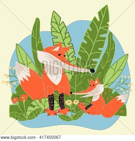 Mom Fox With Little Fox On Green Grass In Cartoon Flat Style. Hand Drawn Childrens Illustration For