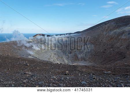 Grand (Fossa) crater of Vulcano island near Sicily Italy