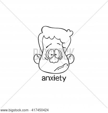 Anxiety. Emotion. Human Face. Cartoon Character. Isolated Vector Object On White Background.