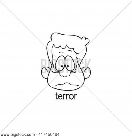 Terror. Emotion. Human Face. Cartoon Character. Isolated Vector Object On White Background.