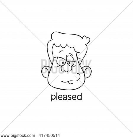 Pleased. Emotion. Human Face. Cartoon Character. Isolated Vector Object On White Background.