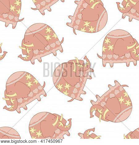 Pink Cartoon Elephant. Cute Animal Print. Seamless Vector Pattern (background).