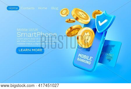 Mobile Banking Service, Financial Payment Smartphone Mobile Screen, Technology Mobile Display Light.
