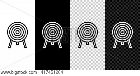 Set Line Target Icon Isolated On Black And White Background. Dart Board Sign. Archery Board Icon. Da