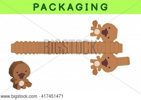 Party Favor Box Die Cut Platypus Design For Sweets, Candies, Small Presents, Bakery. Package Templat