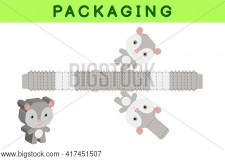 Party Favor Box Die Cut Opossum Design For Sweets, Candies, Small Presents, Bakery. Package Template