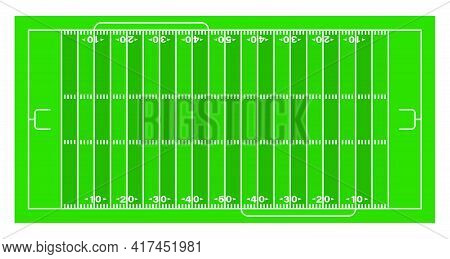 American Football Sports Field Markings Lines On Grass. Outline Football Playground Top View. Sports