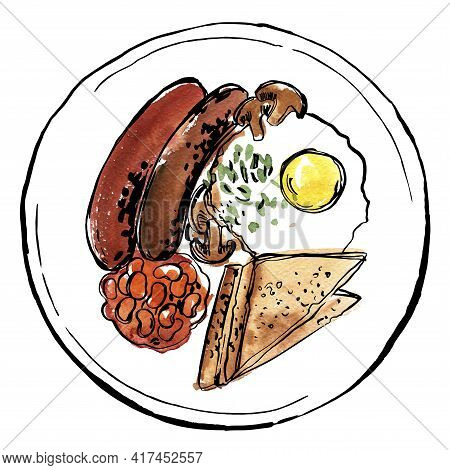 English Breakfast On A Plate. Vector Sketch Of Food In Ink On A White Background.
