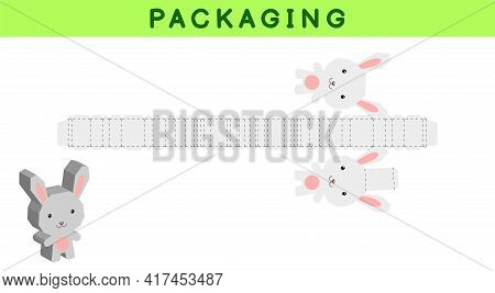 Party Favor Box Die Cut Rabbit Design For Sweets, Candies, Small Presents, Bakery. Package Template,