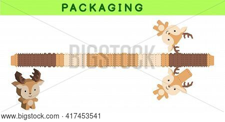Party Favor Box Die Cut Deer Design For Sweets, Candies, Small Presents, Bakery. Package Template, G