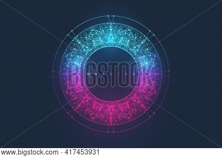 Abstract Fiction Vector Illustration Quantum Computer Technology. Sphere Explosion Background. Deep