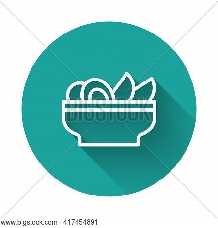 White Line Nachos In Plate Icon Isolated With Long Shadow Background. Tortilla Chips Or Nachos Torti