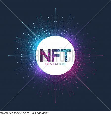 Nft Non Fungible Token. Non-fungible Tokens Icon Covering Concept Nft. High-tech Technology Symbol L