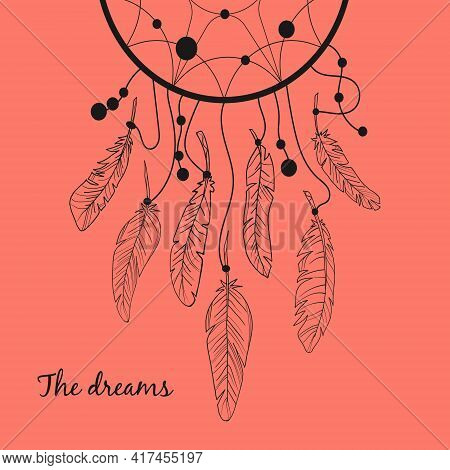 Vector Dream Catcher With Feathers. Dreams. Vector Illustration. Stock Image. Contour Image. Feather