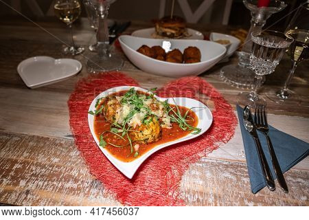 Valentines Day Dinner Setting Romantic Love For Two Wooden Table Red Heart Shape Candle Light Pasta
