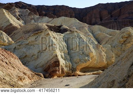 California / Usa - August 22, 2015: The Landscape At Golden Canyon In Death Valley National Park, Ca