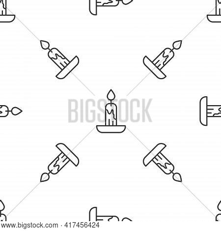Grey Line Burning Candle Icon Isolated Seamless Pattern On White Background. Cylindrical Candle Stic