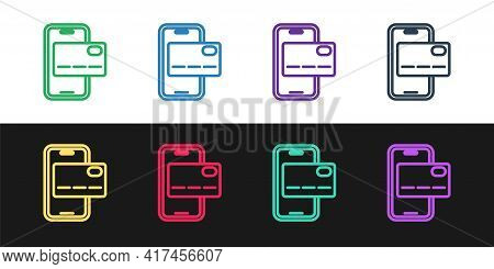 Set Line Mobile Banking Icon Isolated On Black And White Background. Transfer Money Through Mobile B