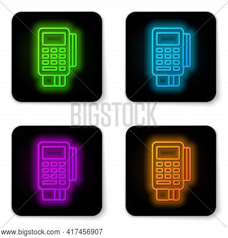Glowing Neon Line Pos Terminal With Inserted Credit Card And Printed Reciept Icon Isolated On White