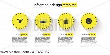 Set Groin Guard, Sport Bag, Wrestling Singlet And Tennis Ball. Business Infographic Template. Vector