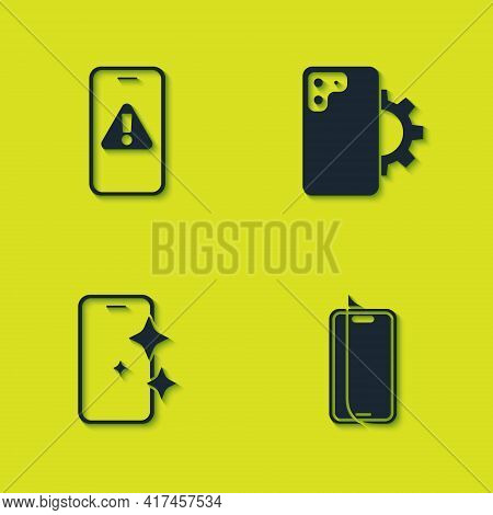 Set Mobile With Exclamation Mark, Glass Screen Protector, And Phone Repair Service Icon. Vector