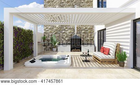 3d Illustration Of Modern Urban Patio With White Bio Climatic Pergola And Whirlpool. Barbecue And Wh