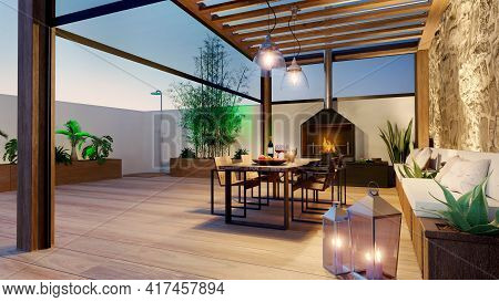 3d Illustration Of Urban Terrace At Twilight With Fire Place And Wooden Table. Teak Wood Bioclimatic