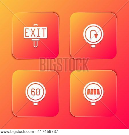 Set Fire Exit, Turn Back Road Sign, Speed Limit Traffic And Pedestrian Crosswalk Icon. Vector