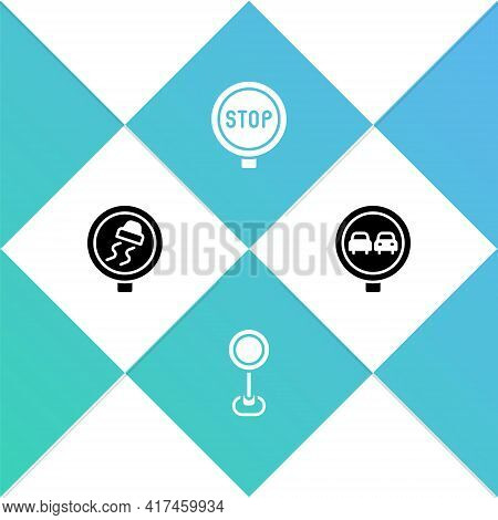 Set Slippery Road Traffic, Road Sign, Stop And No Overtaking Icon. Vector