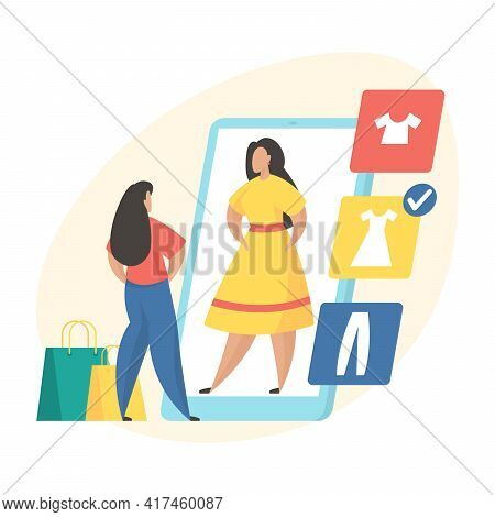Virtual Fitting Room Application Concept. Woman Trying Clothes In Web Application. Female Character