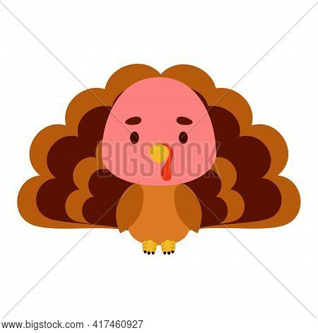 Cute Little Turkey On White Background. Cartoon Animal Character For Kids Cards, Baby Shower, Birthd