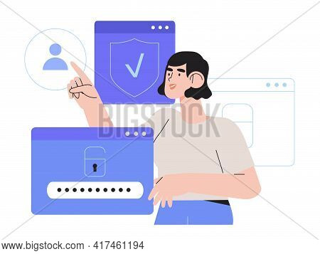 Woman Register Online On Different Devices. Registration Or Sign Up User Interface. User Use Secure