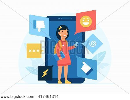 Cyberbullying In Social Network. Flat Vector Concept Illustration. Cartoon Character Little Depresse