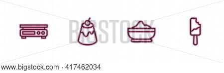 Set Line Electronic Scales, Flour Bowl, Pudding Custard And Ice Cream Icon. Vector