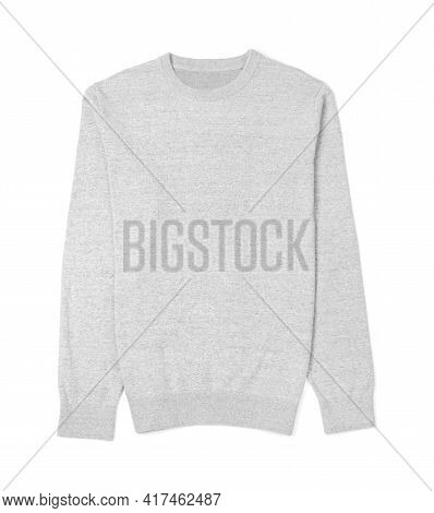 Stylish Cashmere Sweater Isolated On White, Top View