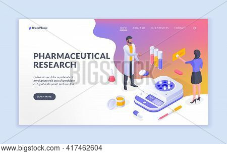 Pharmaceutical Research. Isometric Vector Illustration With Male And Female Specialist Conducting Me
