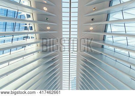 New York City, Usa - June 24, 2018: Interior View Of World Trade Center Transportation Hub Or Oculus