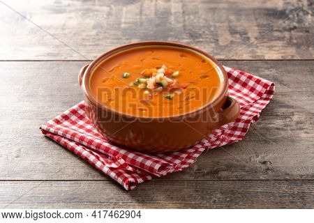 Gazpacho Soup In Crock Pot On Wooden Table.traditional Spanish Food