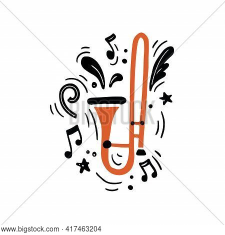 Minimalist Hand Drawn Vector Illustration Of Flat Style Traditional Brass Instrument Of Bright Orang