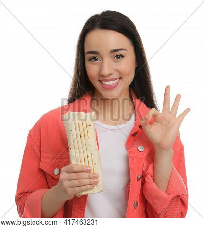 Happy Young Woman With Tasty Shawarma Showing Okay Gesture Isolated On White