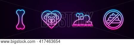 Set Line Dog Bone, Heart With Dog, Clockwork Mouse And No Shit. Glowing Neon Icon. Vector