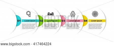 Set Line Honeycomb, Hanging Sign With Honeycomb, Hive For Bees And Flower. Business Infographic Temp