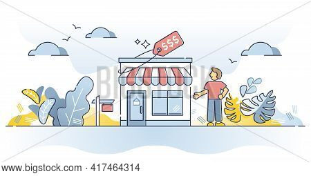 Business For Sale As Company Purchase For New Beginning Outline Concept. Money Investment In Commerc