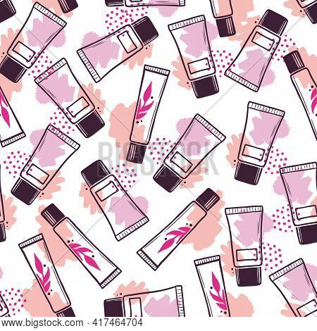 Hand Drawn Seamless Pattern Of Makeup Cosmetic Cream Bottle Elements. Doodle Sketch Style. Container