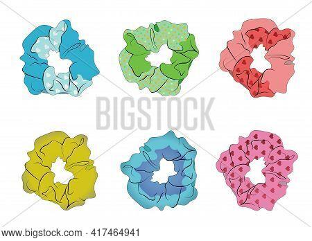 Hair Scrunchies. Lettering. Colourful Illustration Of Hair Tie In 80 S Retro Style. Vsco Girl Hair S