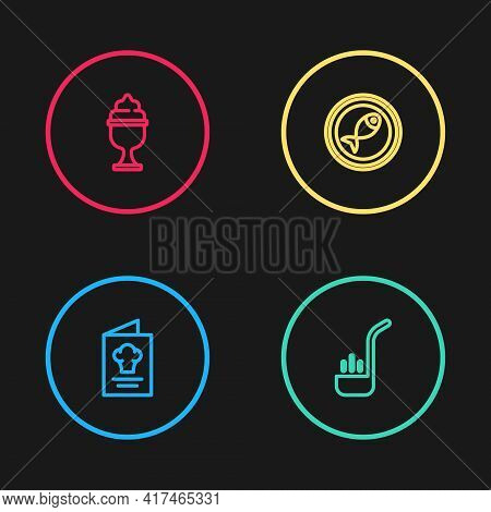Set Line Cookbook, Kitchen Ladle, Served Fish On Plate And Ice Cream In Bowl Icon. Vector