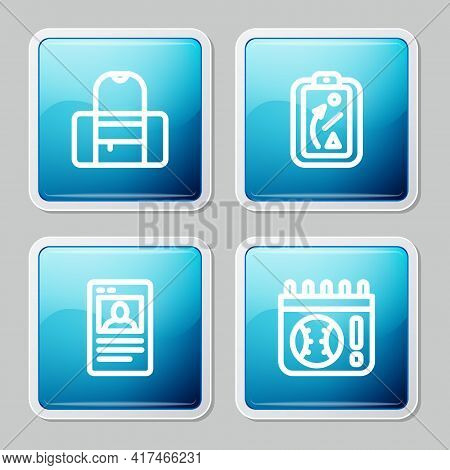 Set Line Sport Bag, Planning Strategy, Baseball Card And Calendar With Baseball Game Icon. Vector